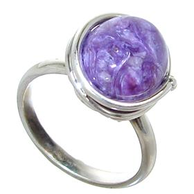 Charoite Sterling Silver Ring Size N 1/2 Adjustable