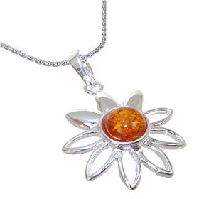 Amber Sterling Silver Necklace 21 inches long