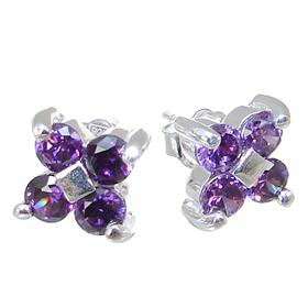 Purple Quartz Sterling Silver Earrings Stud