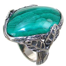 Stunning Malachite Sterling Silver Ring size S 1/2 Adjustable