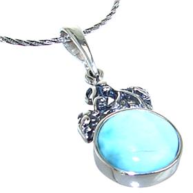 Larimar Sterling Silver Necklace 21 inches long