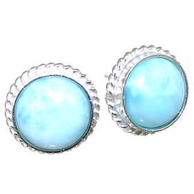 Fancy Larimar Sterling Silver Earrings Stud