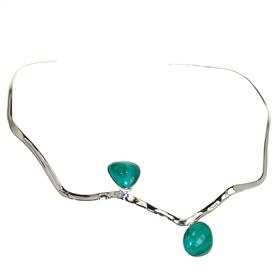 Malachite Torc Collar Sterling Silver Necklace