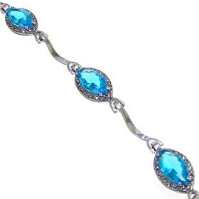Blue Quartz Sterling Silver Bracelet