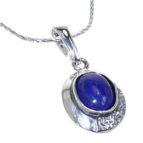 Lapis Lazuli Sterling Silver Necklace 21 inches long