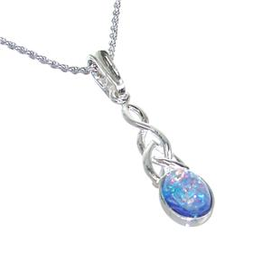 Created Fire Opal Sterling Silver Necklace 21 inches long