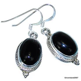 Black Onyx Sterling Silver Gemstone Earrings