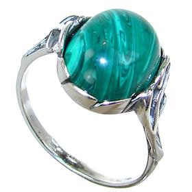 Malachite Sterling Silver Ring size P 1/2