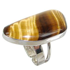 Tiger Eye Sterling Silver Ring size P Adjustable