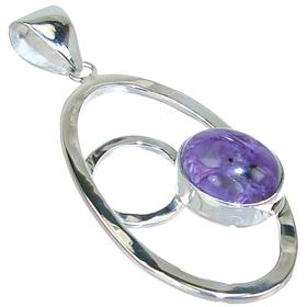 Fancy Charoite Sterling Silver Pendant