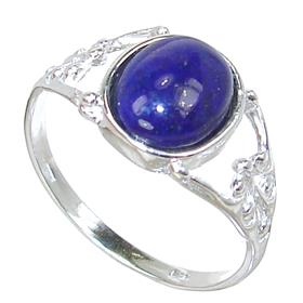 Lapis Lazuli Sterling Silver Ring size R 1/2