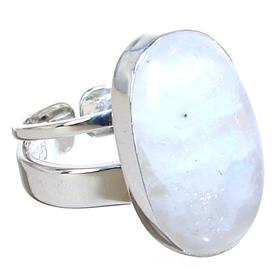 Moonstone Sterling Silver Ring size O 1/2 Adjustable