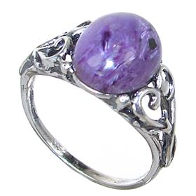 Charoite Sterling Silver Ring Size R