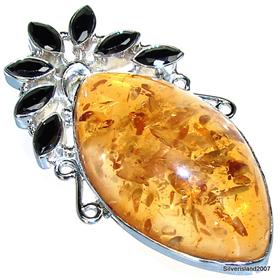 Large Amber Sterling Silver Gemstone Pendant