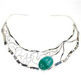 Agate Sterling Silver Torc Necklace