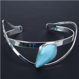 Larimar Sterling Silver Bracelet Bangle