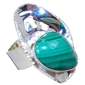Malachite Sterling Silver Ring size Q