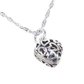 Heart Plain Sterling Silver Necklace length 20 inches