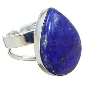 Lapis Lazuli Sterling Silver Ring size O Adjustable