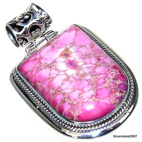 Large Pink African Jasper Sterling Silver Gemstone Pendant