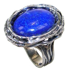Unique Lapis Lazuli Sterling Silver Ring size R 1/2 Adjustable