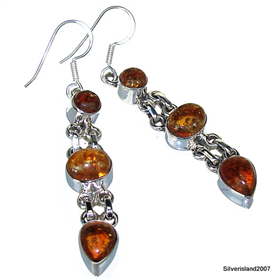 Honey Amber Sterling Silver Gemstone Earrings