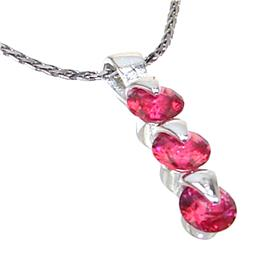 Cherry Quartz Sterling Silver Necklace 20 inches long