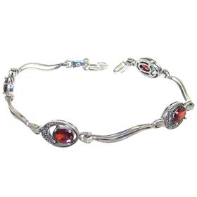 Red Quartz Sterling Silver Bracelet