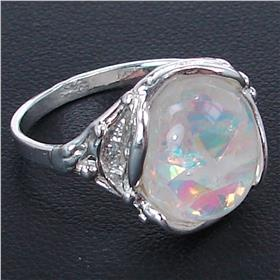 Created Fire Opal Sterling Silver Ring Size P 1/2