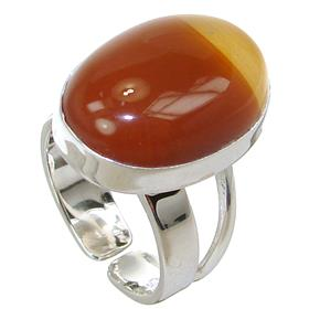 Agate Sterling Silver Ring size O 1/2 Adjustable