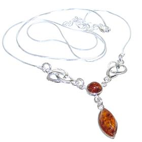 Baltic Amber Sterling Silver Necklace 19 inches long