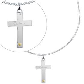 Personalised Sterling Silver Cross with 9ct Gold Heart CZ Necklace