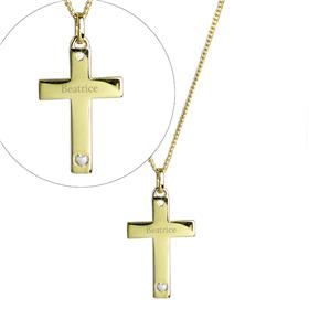 Personalised 9ct Gold Cross with Sterling Silver Heart CZ Necklace
