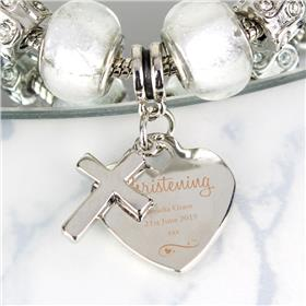 Personalised Swirls & Hearts Christening Cross Charm Bracelet Ice White