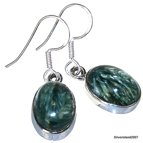 Seraphinite Sterling Silver Gemstone Earrings