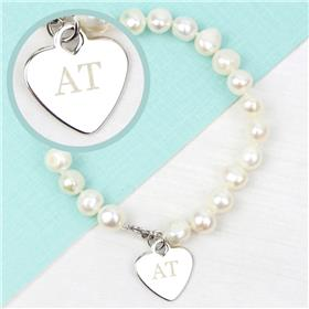 Personalised White Freshwater Pearl Initial Bracelet
