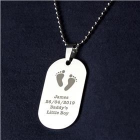 Personalised Footprints Stainless Steel Dog Tag Men Necklace