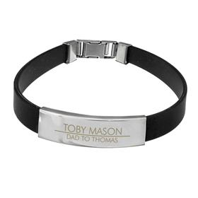 Personalised Classic Stainless Steel Mens Black Bracelet