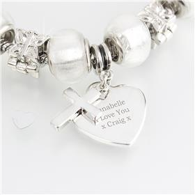 Personalised Cross Charm Bracelet Ice White