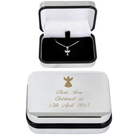 Personalised Angel Sterling Silver Necklace & Chrome Plated Box