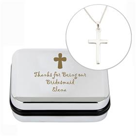 Personalised Cross Sterling Silver Necklace and Box
