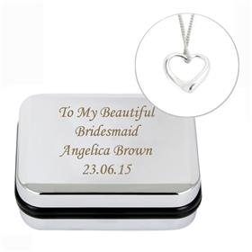 Personalised Heart Sterling Silver Necklace and Chrome Box