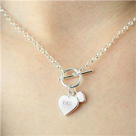 Personalised Hearts T-Bar Sterling Silver Necklace