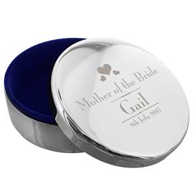 Personalised Decorative Wedding Mother of the Bride Round Trinket Box