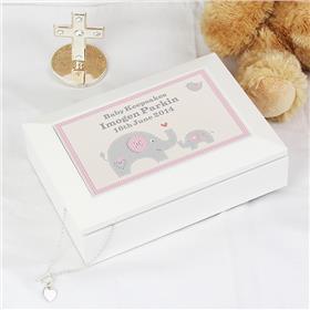 Personalised Pink Baby Elephant White Wooden Keepsake Box