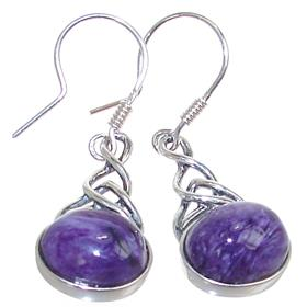 Designer Charoite Sterling Silver Earrings