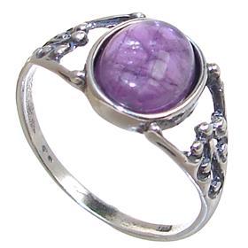 Fancy Amethyst Sterling Silver Ring size S