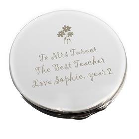 Personalised Flower Teachers Round Compact Mirror
