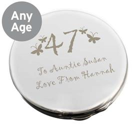 Personalised Butterfly Age Round Compact Mirror
