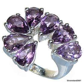 Royal Amethyst Sterling Silver  Ring size M